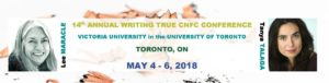 Banner for the CNFC Conference 2018 featuring photos of Lee Maracle and Tanya Talaga